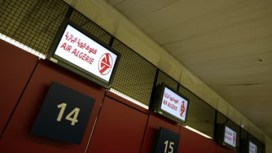 View of the Air Algerie logo at the check in desks at Orly airport, south of Paris.